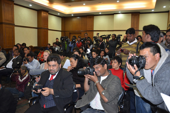 Press Gathering at Press Conference for the Tibetan People's Solidarity Campaign