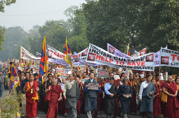 Sikyong, Speaker, Kalons and TPIE members lead the Solidarity rally